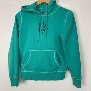 Life is Good | Turquoise Sweatshirt Hoodie M